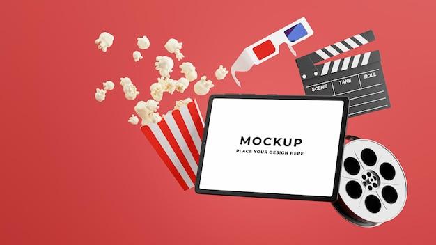 3d-rendering des laptops mit online-kinozeit