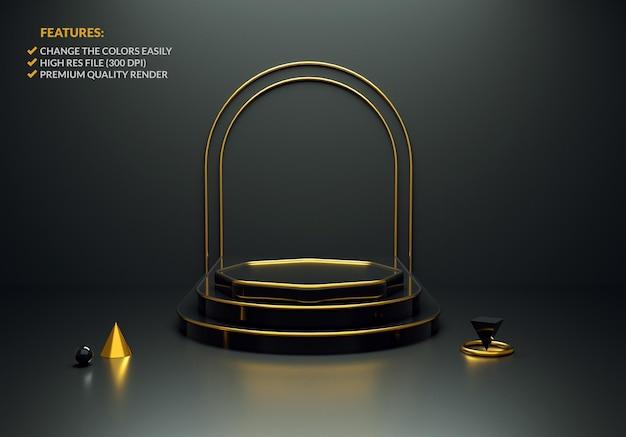 3d-rendering des luxuriösen schwarz-gold-podiums