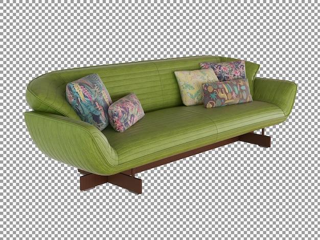 3d-rendering des minimalistischen ledersofa-interieurs isoliert