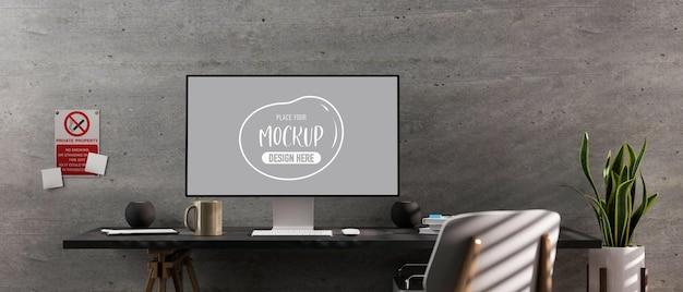 3d-rendering des modernen coworking space mit computermodell