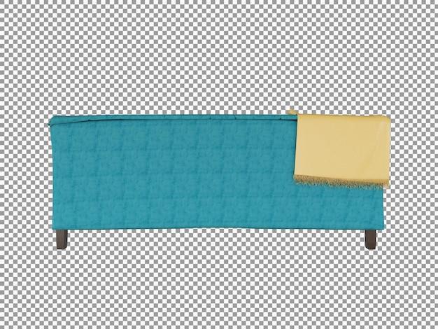3d-rendering des modernen stoffsofas mit holzinnenraum isoliert