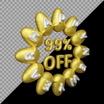 3d-rendering des neujahrsangebots mit 99 prozent rabatt auf ballongold