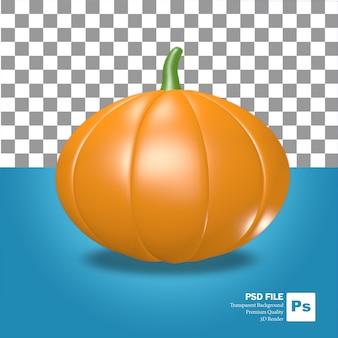 3d-rendering des orangefarbenen halloween-kürbis-obst- und -gemüseobjekts