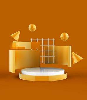 3d-rendering des podiums der abstrakten szenengeometrieform für produktanzeige