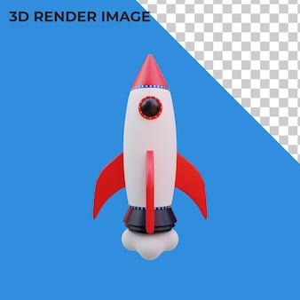 3d-rendering des raketenstarts