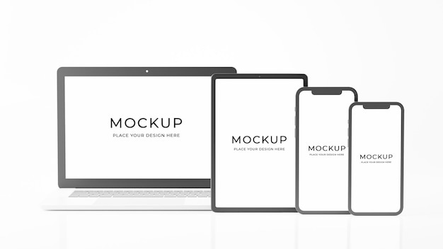 3d-rendering des realistischen satzcomputer-laptop-modellentwurfs
