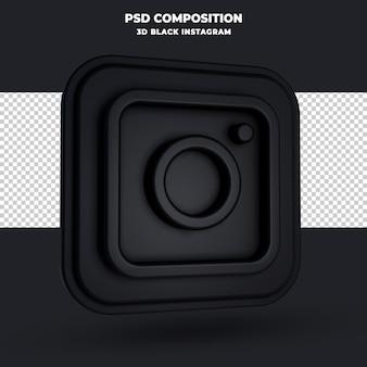 3d-rendering des schwarzen instagram-logos isoliert