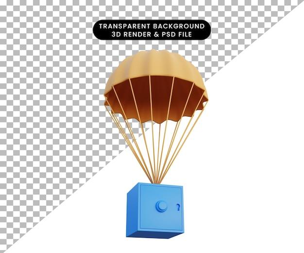 3d-rendering des sicheren fallens mit einem fallschirm