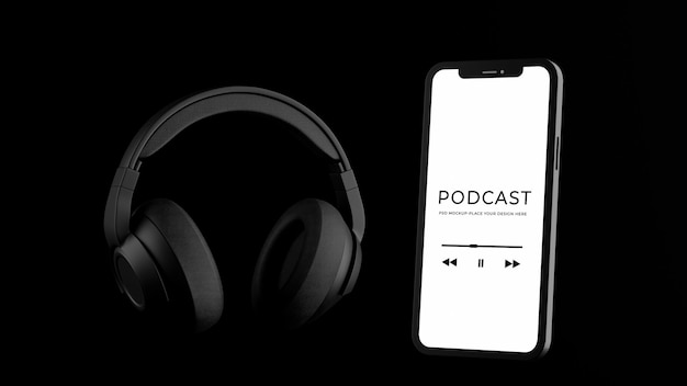 3d-rendering des smartphone-headsets mit podcast-modell