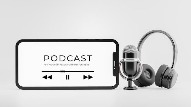 3d-rendering des smartphone-mikrofon-headsets mit podcast-konzeptmodell