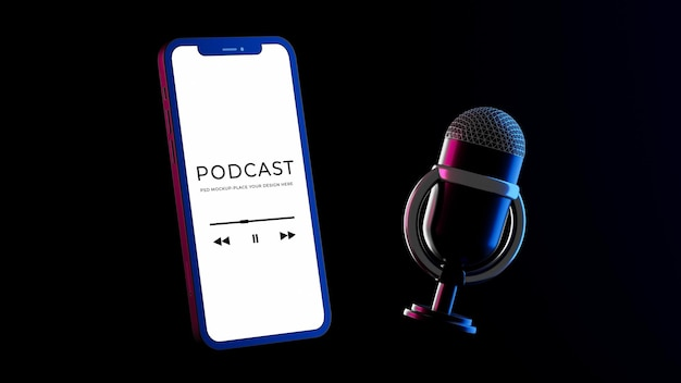 3d-rendering des smartphone-mikrofons mit podcast-modell