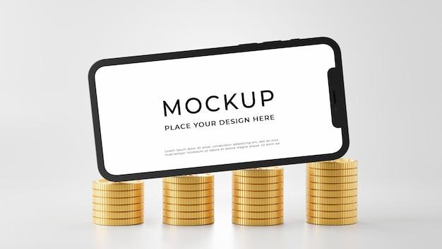 3d-rendering des smartphone-modells mit goldmünzenstapeln