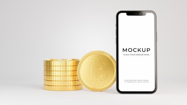 3d-rendering des smartphones mit goldmünzenstapelmodell