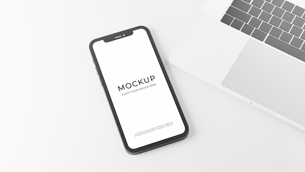 3d-rendering des smartphones mit laptop-modellentwurf