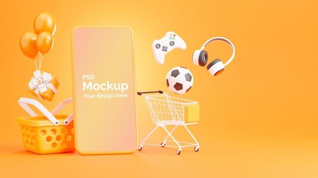 3d-rendering des smartphones mit online-einkaufskonzept
