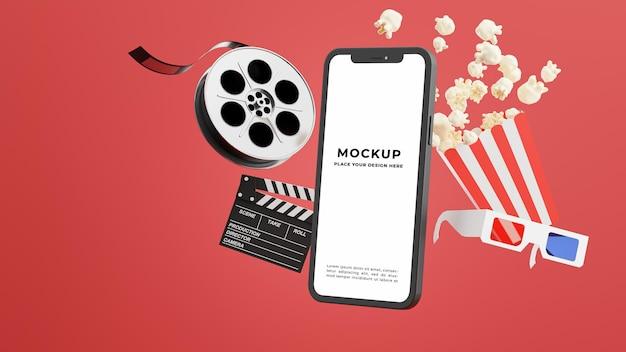 3d-rendering des smartphones mit online-kinozeit