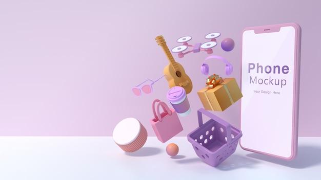 3d-rendering des telefonmodells und des einkaufskorbs