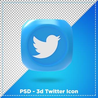 3d-rendering des twitter-symbols isoliert