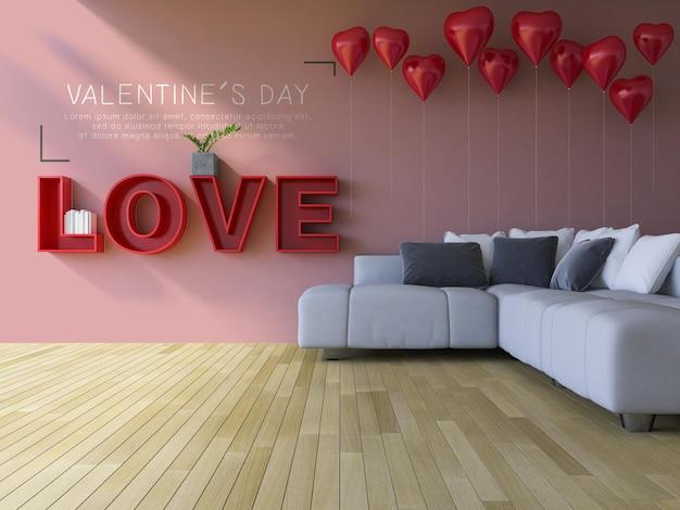3d-rendering des valentinstag-bibliotheksmodells