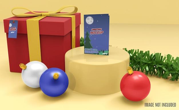 3d-rendering des weihnachtsgrußkartenmodells
