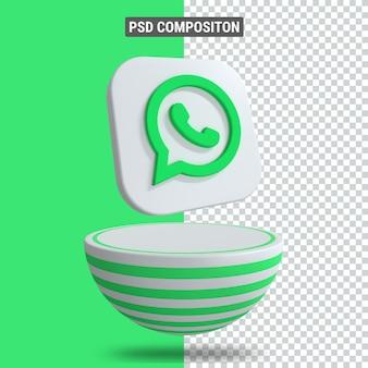 3d-rendering des whatsapp-symbols auf dem podium in grünem blaster