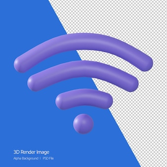 3d-rendering des wifi-signalsymbols isoliert auf weiss.