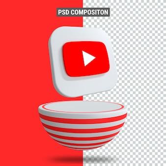 3d-rendering des youtube-symbols auf dem podium in rotem blaster