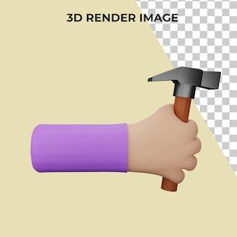 3d-rendering einer hand, die einen werkzeughammer hält premium psd