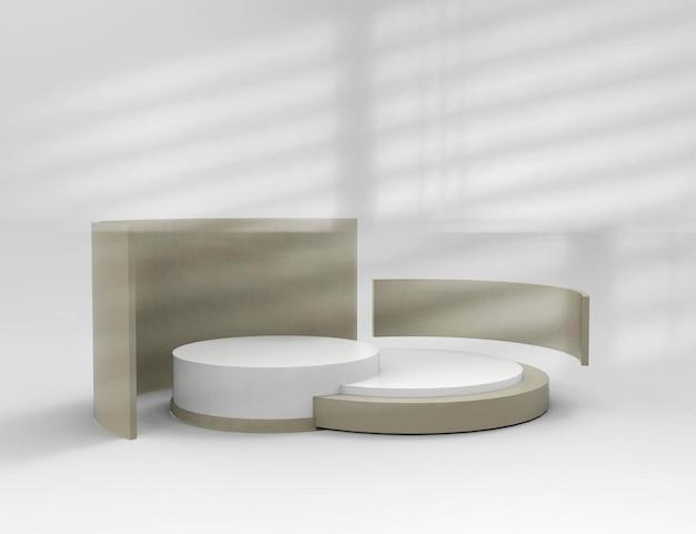 3d-rendering einer produktpräsentation mit zwei podien