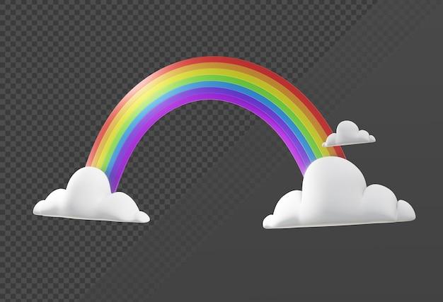 3d-rendering eines einfachen regenbogensymbols mit wolken aus der perspektivischen ansicht