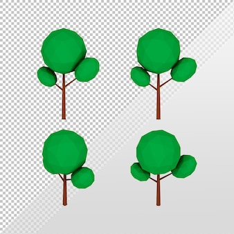 3d-rendering einfacher lowpoly-baum aus verschiedenen blickwinkeln