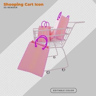 3d-rendering einkaufswagen mit geschenktüte