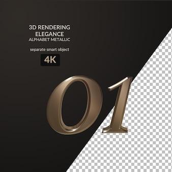 3d-rendering eleganz metallisches alphabet skript