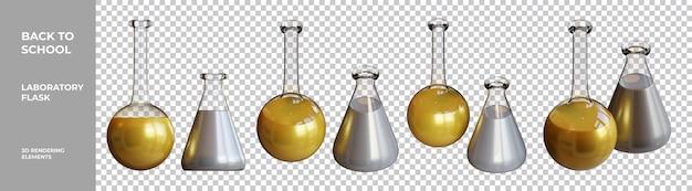 3d-rendering-elemente der laborflasche