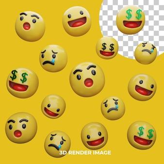 3d-rendering emoji-ausdrücke isoliert