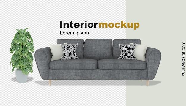 3d-rendering für sofa und pflanzenmodell