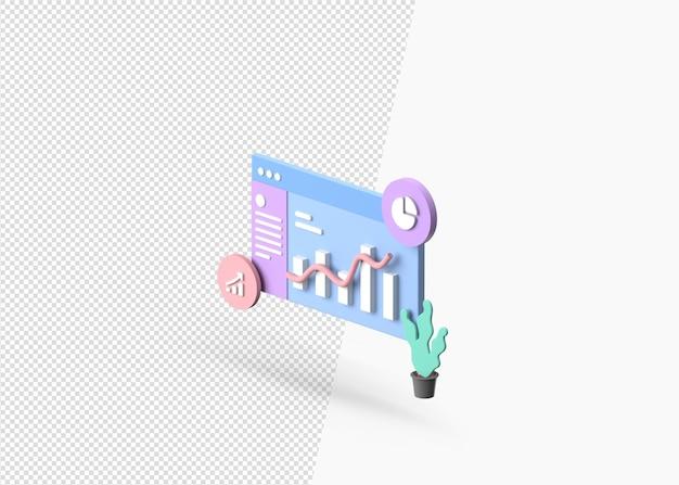 3d-rendering-geschäfts- und finanzanalysethema