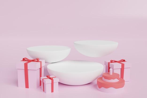 3d-rendering-geschenk mit bühnenbild-modell für scene creator in kostenlosem psd