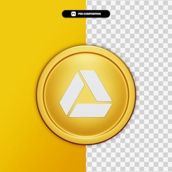 3d-rendering google drive-symbol auf goldenem kreis isoliert