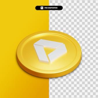 3d-rendering google drive-symbol auf goldenen kreis isoliert