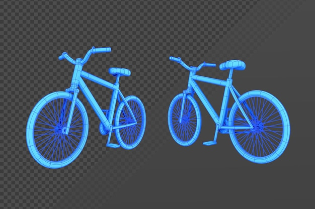 3d-rendering-hologramm-fahrrad aus verschiedenen perspektivischen blickwinkeln