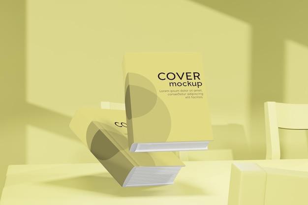 3d-rendering-illustration der bücher, die modell über den tisch fliegen