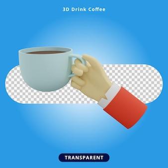 3d-rendering kaffee trinken und glas halten illustration