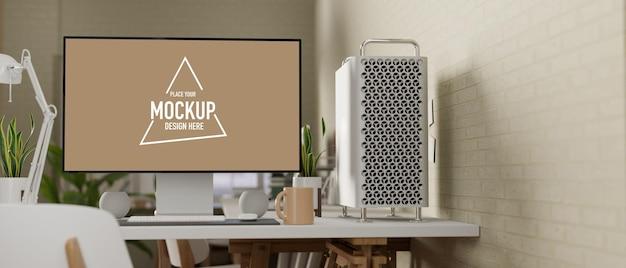3d-rendering, komfortabler arbeitsbereich mit computerzubehör und dekorationen im home office
