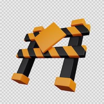 3d-rendering-konzept bausymbol blockade straße