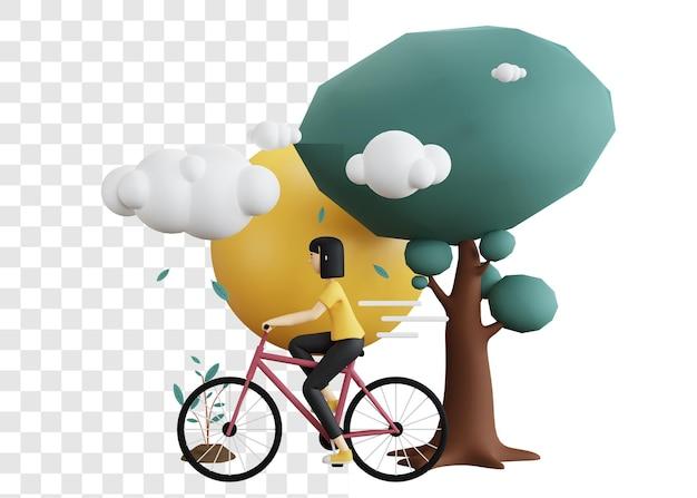 3d-rendering-konzept einer frau, die ein fahrrad reitet