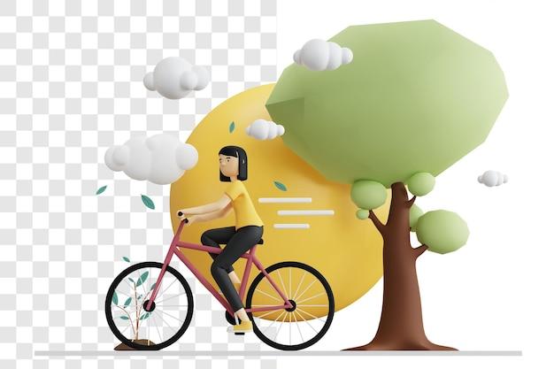 3d-rendering-konzept einer frau, die ein fahrrad während des tages reitet