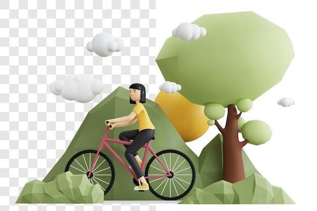3d-rendering-konzept einer frau, die fahrrad im wald reitet