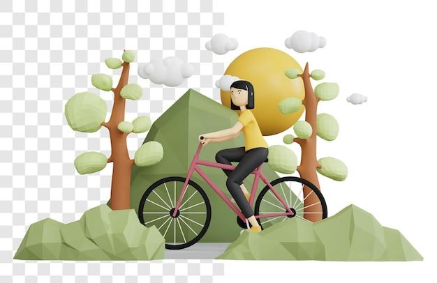 3d-rendering-konzept einer frau, die fahrrad in den hügeln reitet