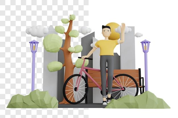 3d-rendering-konzept eines mannes, der neben einem fahrrad winkt